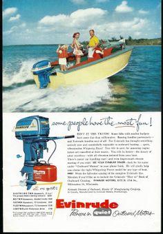 Vintage Boat Ad Evinrude Outboard Motors by zippitydoodlepaper