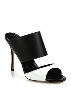 Manolo Blahnik Ripta Two-Tone Leather Mule Sandals  |  @ my sexy shoes2