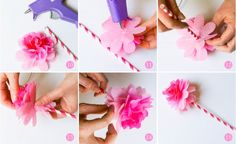 Step by step tutorial for creating tissue paper flower