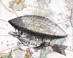 World traveller theme: map & transport, with steampunk fascination with Victoriana: dirigible.