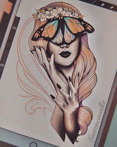 Butterfly Lady Flower Tattoo Design Butterfly Lady Flower Tattoo Design can find Neo traditional . Cool Art Drawings, Pencil Art Drawings, Art Drawings Sketches, Tattoo Sketches, Kunst Tattoos, Body Art Tattoos, Hand Tattoos, Flower Tattoo Designs, Flower Tattoos