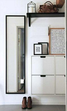 couloir moderne et meuble à chaussures de design scandinave