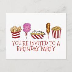 Carnival Fair Foods Birthday Party Invitation Fair Foods, Circus Carnival Party, Xmas Greetings, Wedding Menu Cards, Wedding Invitation Design, Birthday Party Invitations, Holiday Cards, Party Supplies, Future