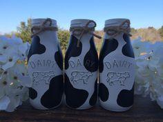 Glass Milk Bottles, Hand Painted Set of Cow Print, Country Decor, Home Decor… Cow Kitchen, Copper Kitchen Decor, Turquoise Kitchen, Glass Milk Bottles, Wine Bottles, Milk Jugs, Mason Jar Soap Dispenser, Cow Decor, Ball Mason Jars