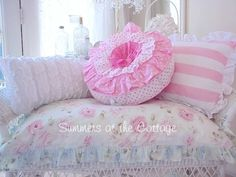 DARLING PINK POLKA DOT RUFFLES ROUND SHABBY COTTAGE ACCENT PILLOW