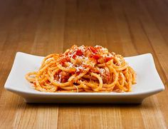 Bucatini all'Amatriciana -- substitute Ancient Harvest's Organic Quinoa Spaghetti instead of white pasta, and no sodium stewed tomatoes Italian Diet, Italian Pasta, Italian Recipes, Jamie's Italian, Spaghetti All Amatriciana, Pasta Amatriciana, Christine's Recipe, Specialty Foods, Essen