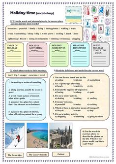 Holiday time (vocabulary)