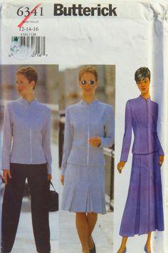 Butterick 6341 Misses Jacket, Skirt & Pants Sewing Pattern Uncut 30s Fashion, High Fashion, Plus Size Sewing, Skirt Patterns Sewing, Jacket Pattern, Striped Fabrics, Cool Fabric, Skirt Pants, A Line Skirts