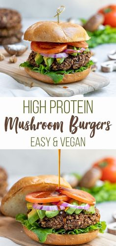 Vegan High-Protein Teriyaki Mushroom Burgers - Sweet Simple Vegan These vegan burgers are easy to make, require simple ingredients and is jam-packed with plant protein. Plus, they are bursting with flavor and are perfect for your next summer party. Protein Burger, High Protein Veggie Burger Recipe, Best Vegan Burger Recipe, High Protein Vegan Recipes, Homemade Vegan Burgers, Vegan Mushroom Burger, Vegetarian Recipes, Healthy Recipes, Uk Recipes
