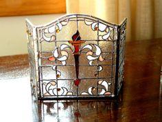 dollhouse miniature 112 scale artisan made leaded glass firescreen bl 112 dollhouse miniature