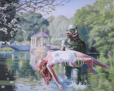 I was asked to paint the Creature From The Black Lagoon coming out of Lake Clara Meer, which is a lake in Piedmont Park here in Atlanta.