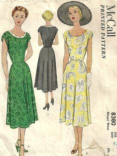 I like the neckline on the yellow dress and the slightly less voluminous skirt. McCalls 8380 Vintage 1950s Sewing Pattern Dress Size 16. $16.50, via Etsy.