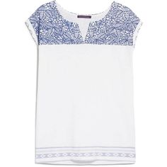 Violeta BY MANGO Embroidered Panel T-Shirt (485 ZAR) ❤ liked on Polyvore featuring tops, t-shirts, cap sleeve tee, mango t shirt, white cap sleeve top, white embroidered top and white t shirt