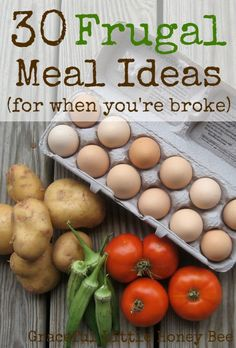 These inexpensive meal ideas will get you through when your wallet is empty. Tons of extra ideas in the comment section! save money on food frugal meal ideas, meal planning tips and budget recipes! Frugal Meals, Freezer Meals, Easy Meals, Frugal Recipes, Cheap Recipes, Frugal Tips, Quick Recipes, Light Recipes, Family Recipes
