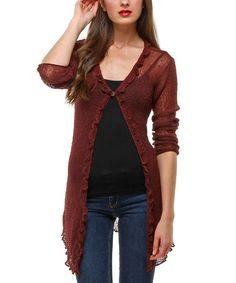 Loving this Brick Semi-Sheer Oasis Cardigan on #zulily! #zulilyfinds