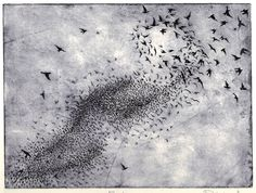Flock, an original hand pulled etching. by Philippa Jones Linocut Prints, Art Prints, Artist Portfolio, Postmodernism, Woodblock Print, Bird Art, Flocking, Landscape Art, Birds In Flight