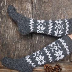 Knitted Wool Socks Handmade Knitted Knee High Wool by ManCrochets, $29.00