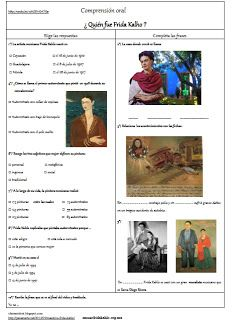 Les quichotteries de Delphine: HDA Fiche de CO (pensamientos Frida Khalo) - Amazing analysis of Spanish art with printable worksheets