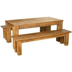 Rustic Plank Solid Pine Dining Table & Bench Set 5ft x 3ft RRP £549.99 | eBay