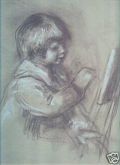 Renoir ,La Petite Peintre, Les Sanguines , little artist , Dessin , designs , lithography