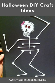 Love this fun idea for a halloween. I had to slightly bend the qtips for the ribs so they would stick. halloween crafts for kids Theme Halloween, Easy Halloween Crafts, Spirit Halloween, Holidays Halloween, Holiday Crafts, Fun Crafts, Halloween Crafts For Preschoolers, Haloween Craft, Baby Crafts