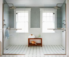 This walk-in shower with glass panels feels open and airy. More shower design ideas: http://www.bhg.com/bathroom/shower-bath/design-ideas/?socsrc=bhgpin070113doubleshower