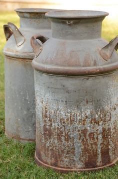 Large Antique Metal Milk Jug, french country rustic farm outdoor decor antique dairy garden urn rusty.  http://www.etsy.com/listing/116626233/reserved-for-jonathan-large-antique