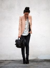 pink blazer, white blouse, black pants