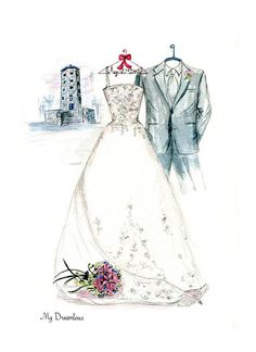 Over 3000 Amazing Wedding Dress Sketches Created Amazing Wedding Dress, Magical Wedding, Dream Wedding, Wedding Suits, Wedding Gowns, Wedding Dress Sketches, Wedding Painting, Wedding Embroidery, Dress Drawing