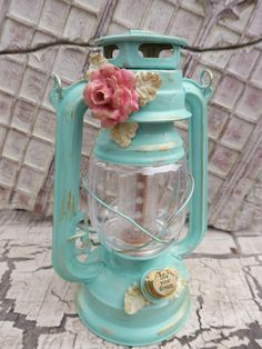 LED Railroad  Hanging Lantern,Turquoise gold, shabby chic Glamping Camping Lantern, Vintage Style