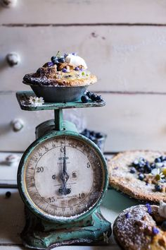 Sweet Blueberry Buttermilk Pies with Chamomile Cream.