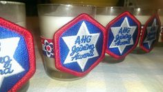 great idea for joining award. each girl keeps the candle. glue dots for ribbon, double over tape for badge to stick American Heritage Girls Crafts For Girls, Diy And Crafts, American Heritage Girls, Girl Scouts, Special Events, Stripes, Glue Dots, Fun, Banquet