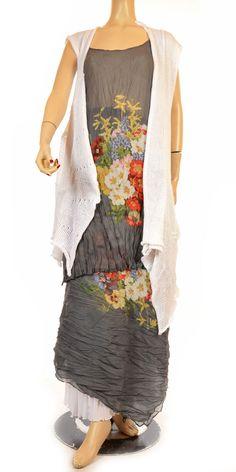 "Hebbeding Summer 2012 Grey & Flower Print ""Nutmeg"" Voile Singlet Tunic-Hebbeding, lagenlook, womens plus size UK clothing"