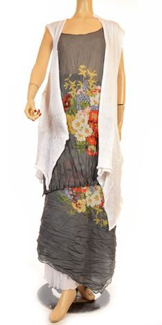 "Hebbeding Summer 2012 Grey & Flower Print ""Nutmeg"" Voile Singlet Tunic-Hebbeding, lagenlook, womens plus size UK clothing"