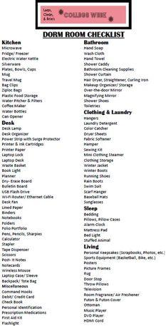 {College Week} Dorm Room Checklist - Lean, Clean and Brie College Dorm List, College Dorm Checklist, College Packing Lists, College Essentials, College Planning, College Dorm Rooms, Apartment Checklist, College Apartments, College Hacks