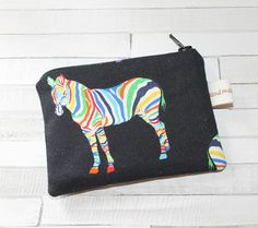 Coin purse change purse rainbow zebra gift for her