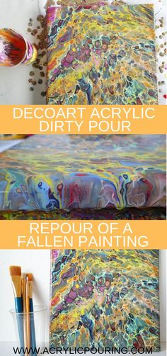 See how a repour of a fallen painting is done with decoArt acrylic dirty pour. Acrylic Painting Lessons, Drip Painting, Acrylic Paintings, Acrylic Art, Acrylic Flowers, Painting Flowers, Adult Crafts, Diy Crafts, Acrylic Pouring