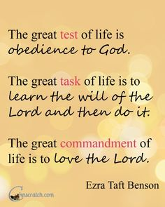 Such a great quote from Ezra Taft Benson. Love how this study to go with Chapter 1: Living the Great Commandment- Love the Lord