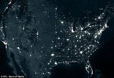 Light show: An image of the U.S. from space highlighting the staggering light pollution