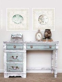 A lovely distressed desk painted in Pure White, Paris Grey & Duck Egg Blue Chalk Paint®️️ decorative paint by Annie Sloan | By How To Nest For Less