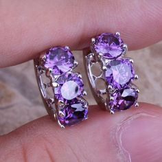 Unusual Purple Amethyst 925 Sterling Silver Huggie Hoop Earrings For Women Free Shipping & Jewelry Bag S0190