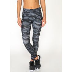 RBX Active All Over Camo Print Leggings with Zipper Side Pockets ($35) ❤ liked on Polyvore featuring activewear, activewear pants and black