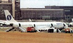 Sabena Airbus A340-211 OO-SCW (c/n : 014) just after the accident of the 29th of August 1998. SN542 back from New York broked his landing gear at arrival in Brussels
