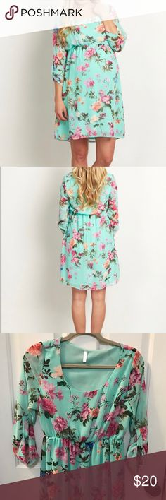Pink Blush Maternity floral mint dress With sheer sleeves and an elastic waistband, this dress is a great option for summer!! Beautiful floral pattern and very flattering. Great for baby showers and weddings.  Be sure to check out my other maternity dresses- bundle & save!! Pinkblush Dresses