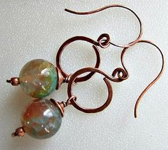 Rainbow Agate and Copper Earrings