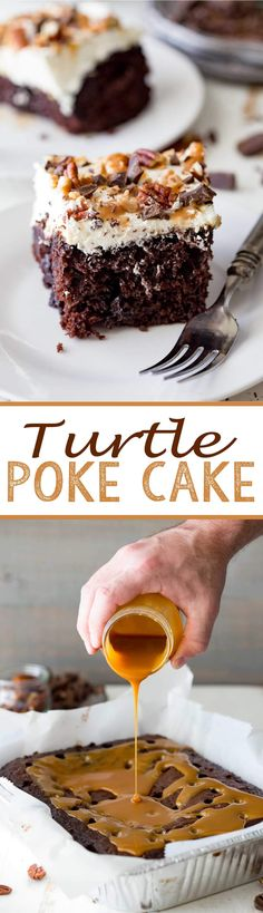 The easiest poke cake in the history of poke cakes, this Turtle Poke Cake starts with a boxed cake mix that is baked then drenched in salted caramel, topped with stabilized whipped cream, and scattered with delicious bits of chocolate, caramel, toffee, and pecans!