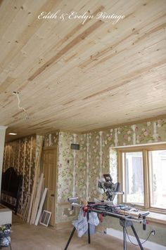 How To Plank A Popcorn Ceiling With Lightweight Tongue And Groove Wood Planks