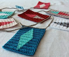 Hilja Design -tapestry crochet: bunting(love the design & color)