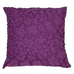"Tulle-detailed throw pillow with textured floral appliques and a feather-down insert. Reverses to solid cotton sateen.  Product: PillowConstruction Material: Cotton and feather down fillColor: PurpleFeatures: Designed by Dormify Insert includedHidden zipper closureDimensions: 18"" x 18""Cleaning and Care: Dry clean only"