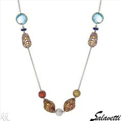 $8,779.00  SALAVETTI Made in Italy Superb Brand New Necklace With 99.62ctw Precious Stones - Genuine  Super Clean Diamonds, Quartz, Rubies, Sapphires and Topazes Beautifully Crafted in 18K Two tone Gold. Total item weight 55.6g  Length 39in - Certificate Available.